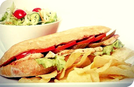 At Lina's restaurant & cafe, Get Oriental chicken sandwich + Green Salad + Hubble-bubble for SYP550 instead of SYP900